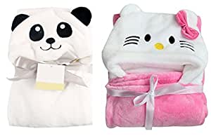 My Newborn Soft Flannel Hood with Blanket Wrap, White and Baby Pink (Pack of 2)