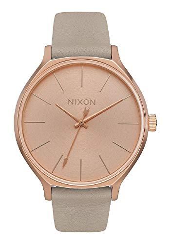 Nixon Clique - Orologio da donna in oro rosa/grigio, 38 mm Quadrante in oro rosa/cinturino in pelle grigia).