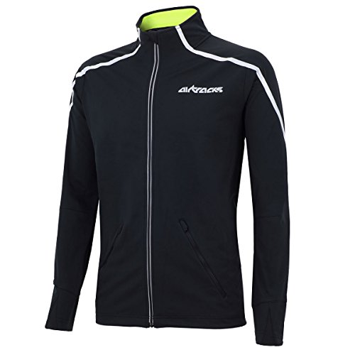 Airtracks Thermo Fahrradjacke AIR TECH/Laufjacke/Windstopper/Winddicht/WASSERABWEISEND/Reflektoren-SCHWARZ-XXL Windstopper