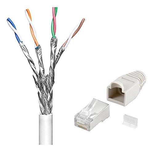 100 m Cat6 Patchkabel - Netzwerkkabel mit 20 x Netzwerk-Stecker mit Knickschutztülle und Einfädelhilfe; Kabel doppelt geschirmt; S/FTP PIMF; Flexibler Innenleiter