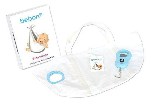bebon® Babywaage - Waage für Neugeborene, Säuglinge und Babys - Wiegen wie die Hebamme (1er Set, Weiß)