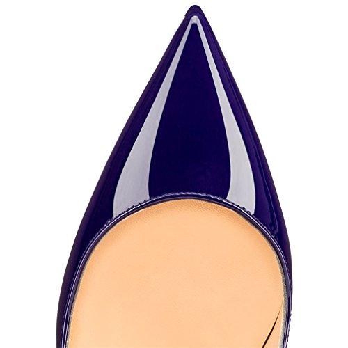 ENMAYER Femmes Sexy Dégradé et Imprimer Stiletto High Heel Pumps Pointe Toe Slip-on Chaussures Plus Size Violet