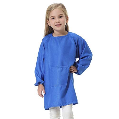 Kinder Schürze, Wasserfest Langarm Kittel mit Fronttasche für Küche und Klassenzimmer für 5-16 Jahre - Dunkelblau, XL(12-16y)