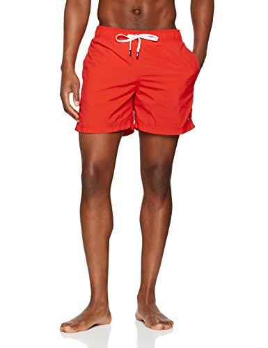 Tommy hilfiger double waistband medium drawstring, costume da bagno uomo, rosso (flame scarlet 682), large
