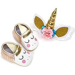 Zapatos de Niña con Diadema Regalo Set Unicornio Flor Suave Suela Zapatillas Antideslizantes Zapatos de Princesa (0-6 Meses, C)