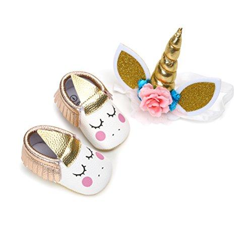 Zapatos de Niña con Diadema Regalo Set Unicornio Flor Suave Suela Zapatillas Antideslizantes Zapatos de Princesa (12-18 Meses, C)