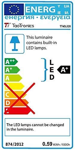 TaoTronics Schreibtischlampe LED Metall Bürolampe 12W Tageslichtlampe mit 5 Farbmodi & 5 Helligkeiten, augenschonende LED Nachtlicht 1 H Timer USB Ladeanschluss