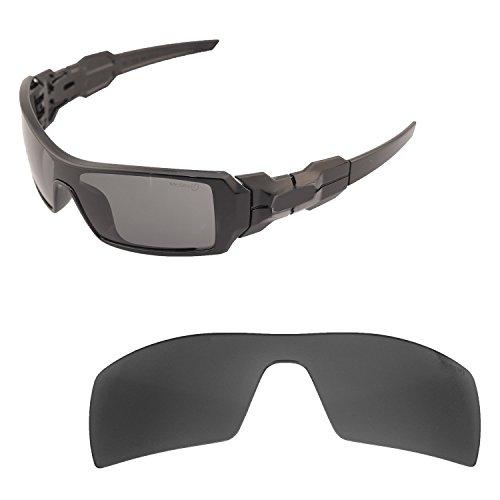 Walleva Ersatzgläser für Oakley Oil Rig Sonnenbrille - 19 Optionen, Herren, Black - Mr. Shield Polarized