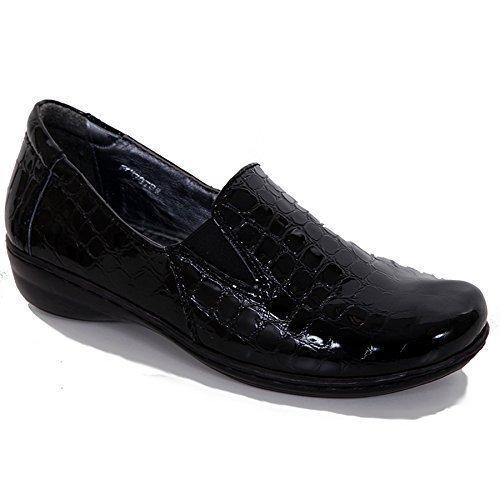 FANTASIA BOUTIQUE pour Femmes Extensible Cuir Front Verni Crocodile Imprimé femmes Chaussures Confortable Noir