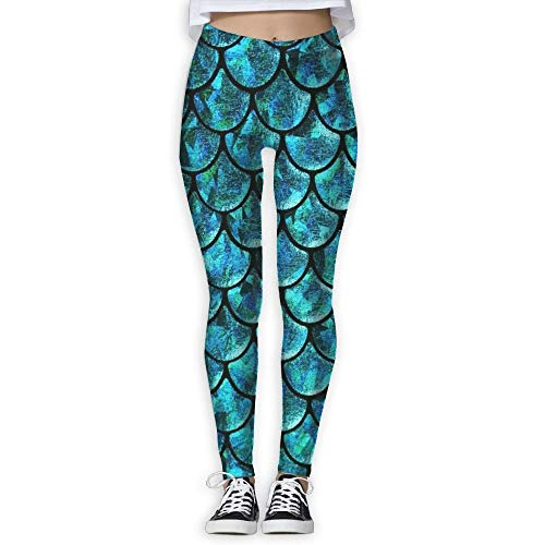 ltra Soft Lightweight Leggings, Mermaid Tails Abstract Women's Tummy Control Sports Running Yoga Workout Leggings Pants ()