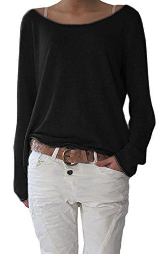 Damen Sexy Rundhalsausschnitt Langarm Lose Bluse Strickpulli Hemd Shirt Oversize Sweatshirt in Vielen Trend Farben Tops S/M L/XL (632) (L/XL, Schwarz)