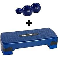 Preisvergleich für ScSPORTS Stepper, Stepbench, Aerobic-Fitness-Steppbrett, höhenverstellbar, 67 x 27 x 10/15 cm, mit Vinylhanteln 2 kg