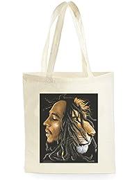 Rasta Lion Bob Marley Face, Bolsa de Compras para ir de Compras, Picnic, Almacenamiento en el Hogar y Escuela, tote bag