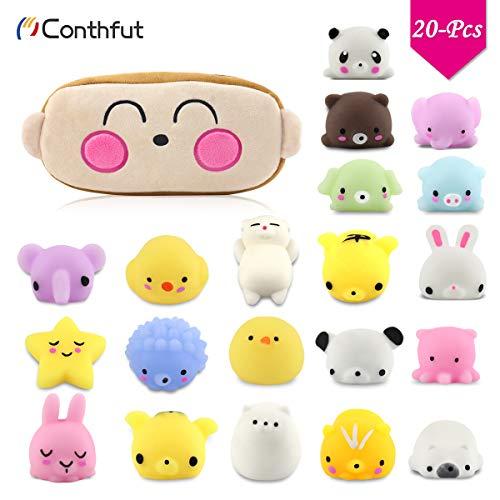 Conthfut Squishy Spielzeug, 20 Stück Mochi kreatürlich Squishies Set Kawaii Party Geschenke für Kinder mit Kawaii Monkey Tragetasche, Anti-Stress Squeeze Spielzeug für Jungen und Mädchen