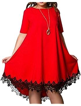 Verano Mujeres Talla Grande Vestido Encaje Splicing Irregular Péndulo Grande Vestidos de Partido Coctel Ceremonia...