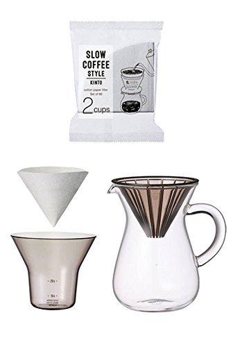 Kinto Japan Kaffee-Karaffenset für zwei Tassen für langsamen Kaffee mit Filtern (insgesamt...