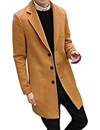MEIbax Hombres Slim Elegante Manga Larga Trench Coat Larga Parka Abrigo  Chaqueta de Lana Larga Formal ae583fa872b6