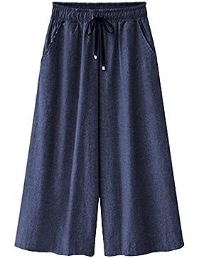 OCHENTA Mujeres Cintura Elástica Mezclilla Siete Puntos Pantalones Culottes Con Cordón