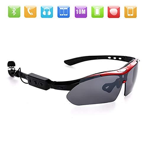 ZWLUCKY Intelligente Sport-Sonnenbrille, Bluetooth 4.1 Stereo-Sprachwahl HiFi Music Polarized Glasses UV-Schutz Reibungs- Und Kratzfestigkeit, Radfahren Im Freien,RedFrame