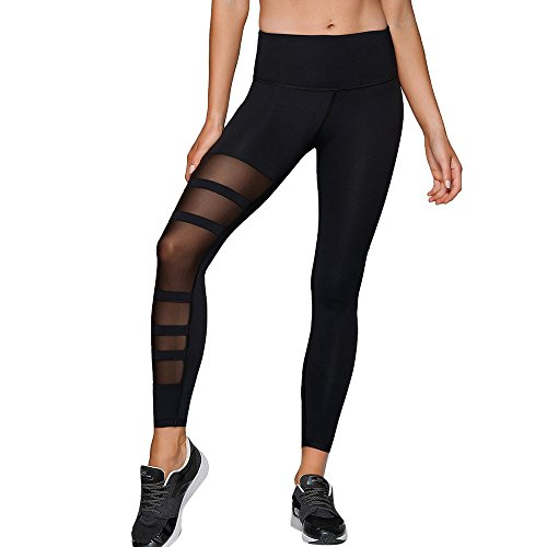 MAYOGO Damen Strumpfhosen Yoga Training Fitness Leggings Gym Sport Laufen Hosen Patchwork Spitze Tüll Übung Stretch Leggings Training Tights Sporthose Shapewear
