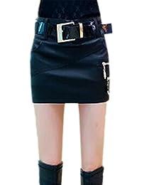 b618417b4ce5 Haililais Damen Modisch PU-Leder Rock High Waist Schlank Minirock Glamour  Paket HÜFte Rock Klassisch