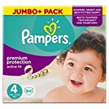 Pampers Active Fit Größe 4 Maxi 7-18kg Jumbo Plus Pack, 3er Pack (3 x 64 Windeln)