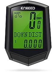 Enkeeo Preciso - Ciclocomputador con cadencia, cuentakilómetros digital (frecuencia pedaleo, odómetro, retroiluminado, multifuncional seguimiento) Negro