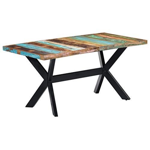 Tidyard Esszimmertisch Baumkantentisch Esstisch Küchentisch Holztisch aus Recyceltes Massivholz, Esstisch Mit einem Stahlkreuzrahmen Abmessungen:160 x 80 x 75 cm (L x B x H)
