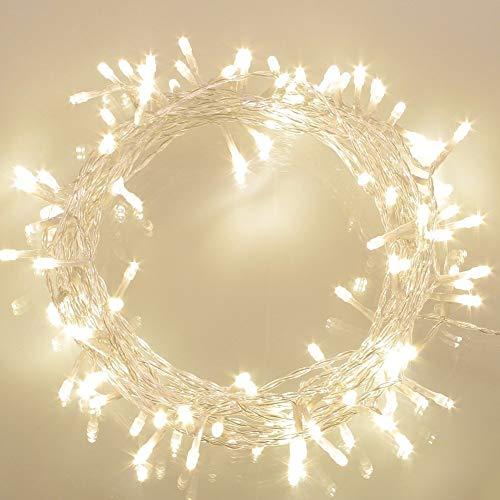 100 LED Guirnaldas Luminosas Exteriores [Temporizador] de Pilas (8 Modos de Funcionamiento,...