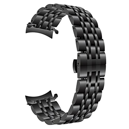 TRUMiRR Armband kompatibel Für Gear S3 Armband, 22mm Edelstahl Armband Curved End Uhrenarmband Schmetterling Schnalle Armband für Samsung Gear S3 Classic/Frontier - Übergangs-metall