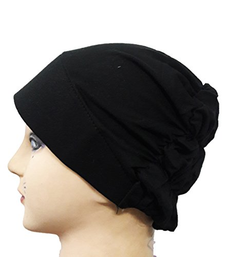 Cwen Collection Hijab BLACK HOSIERY TURBAN CANVAS CAP Under Scarf Poly Scarf...