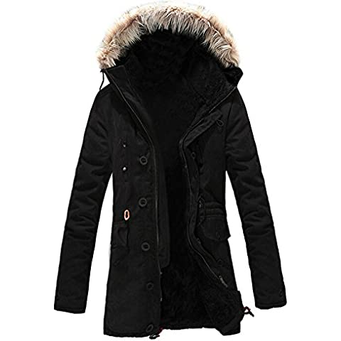 SODIAL (R) Hombre Nueva invierno de calido anorak de vellon acorazado zanja Bolso de viaje abrigo chaqueta MFb13 Negro -