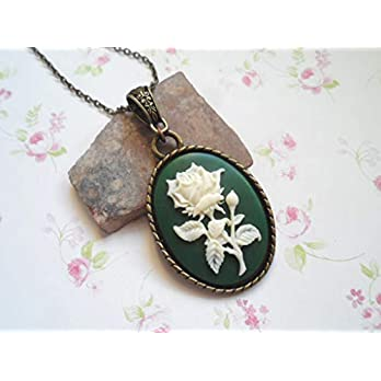 Beautiful vintage inspired rose cameo necklace, blue or green, vintage style brass, Selma Dreams nature jewelry