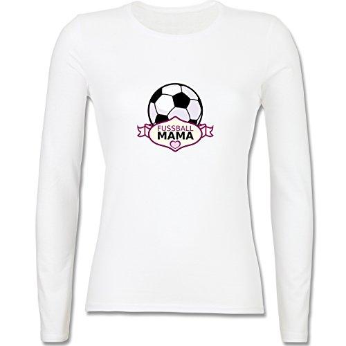 Muttertag - Fußball Mama - tailliertes Longsleeve / langärmeliges T-Shirt für Damen Weiß