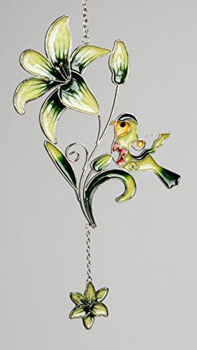 dekojohnson Moderne Fensterdeko Fenster-Hänger Deko-Hänger Glasbild Tiffany Art Lilie&Vogel Grün Frühling/Sommer 35cm