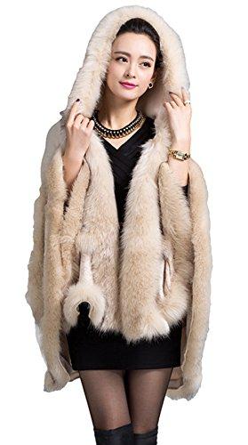 La imitación Mujer cuello chal capa piel zorro chaqueta