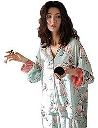e27c3ee7a4 Oneworld Damen 100% Baumwolle Pyjamas Set Zweiteiliger Schlafanzug  Hausanzug Nachthemd Langarm Von Frühling bis…