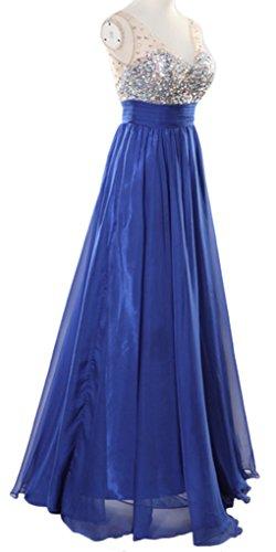 Eyekepper Robe Soiree col en V Paillettes en mousseline de soie nuptiale robe longue de bal femmes Bleu