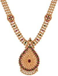 Ganapathy Gems Traditional Kerala Design Multi-Colour Gold Plated Chain Necklace For Women & Girls(10723_GPJ)...