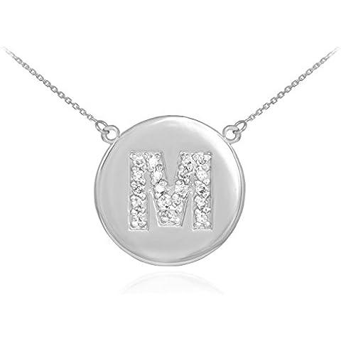 14 quilates 585/1000 Oro Blanco Collar inicial inicial disco de diamante