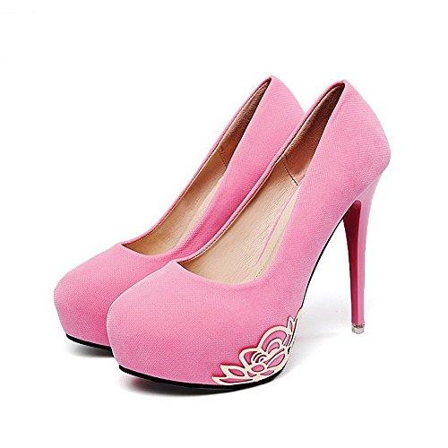 AalarDom Femme Couleur Unie Suédé Stylet Tire Chaussures Légeres Rose-Décoration Métal