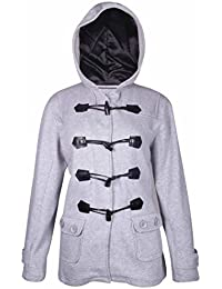 Womens New Long Sleeve Ladies Hooded Fleece Duffle Toggle Front Fastening Coat Soft Jacket Plus Size