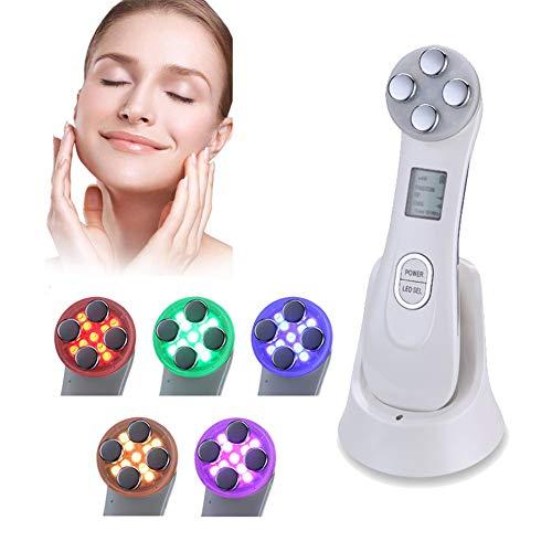 Facial Aparato Radiofrecuencia, 5 tipos de selección de luz EMS RF arrugas instrumento de belleza - multifunción electroporación sin aguja masajeador ultrasónico