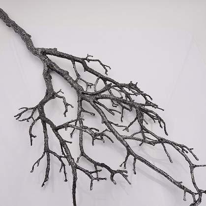 E+N Glitter-Zweig Glimmer-Zweig Deko-Zweig mit Glimmer schwarz/Silber, H:90cm, Kunststoff