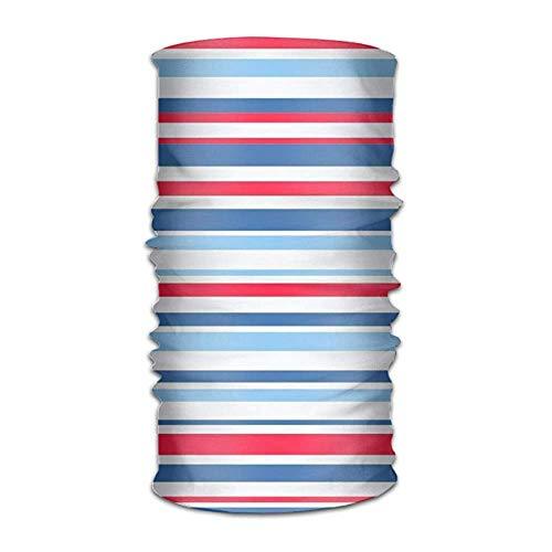 Jolly2T Blue Red Stripes Bandanna Headwear Neck Gaiters Variety Scarf Wrap Wide Stripe Beanie