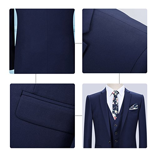 YOUTHUP Slim Fit 3 Teilig Business Hochzeit Herren Anzug Smoking Blau(1 Knopf)