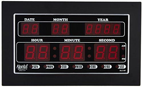 Ajanta Quartz Digital LED Plastic Wall Clock (34 cm x 20 cm...