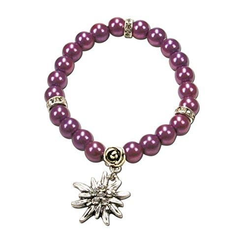 Alpenflüstern Perlen-Trachten-Armband Fiona mit Strass-Edelweiß - Damen-Trachtenschmuck, Elastische Trachten-Armkette, Perlenarmband Lila-Violett DAB011