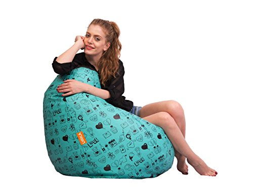 ORKA   Digital Printed Bean Bag XL (Filled With Beans) - Green & Black
