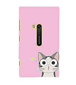 ANIMATED CAT IMAGE WITH A PINK BACKGROUND 3D Hard Polycarbonate Designer Back Case Cover for Nokia Lumia 920 :: Microsoft Lumia 920